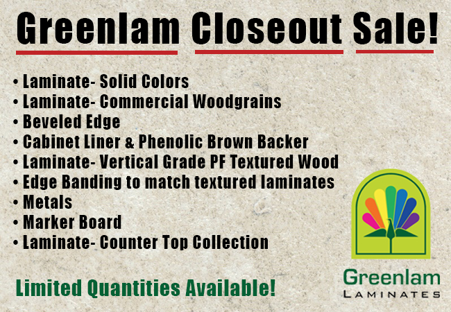 Greenlam Closeout Sale banner ad
